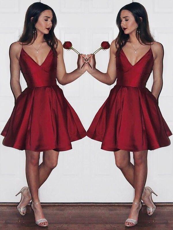 98f657313cbb Stylish A-Line/Princess Short/Mini Satin Sleeveless V-neck Dresses -  JennyProm