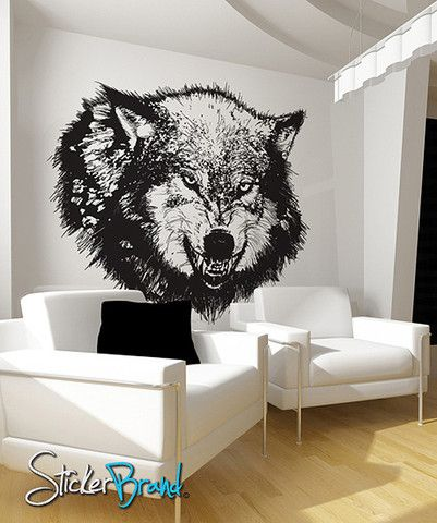 Wolf Wall Art vinyl wall decal sticker angry wolf #789 | angry wolf, wall art