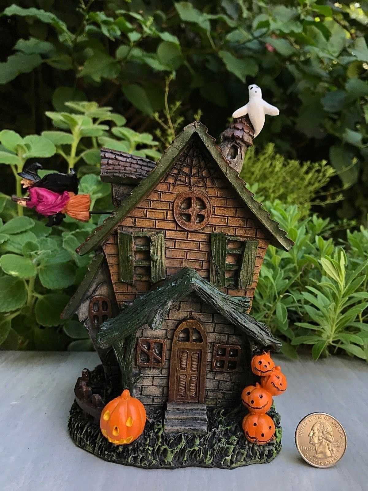 Miniature Dollhouse FAIRY GARDEN HALLOWEEN Haunted House