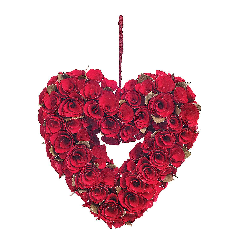 Red Rose Heart Wreath Orientaltrading Com Valentine Wreath Heart Wreath Valentine Day Wreaths