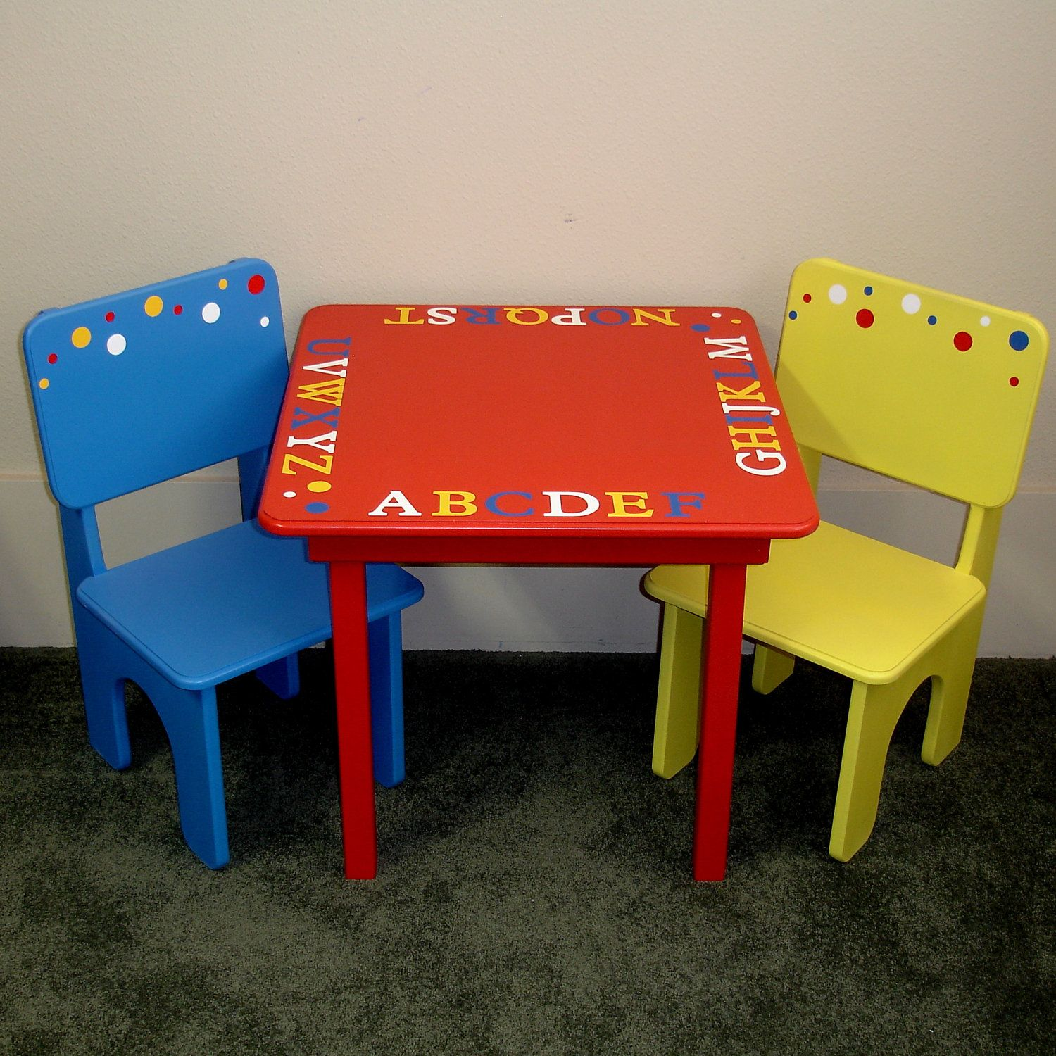 d5b161920a9cb Childrens Primary Colors ABC Theme Table and Chairs. | Playroom in ...