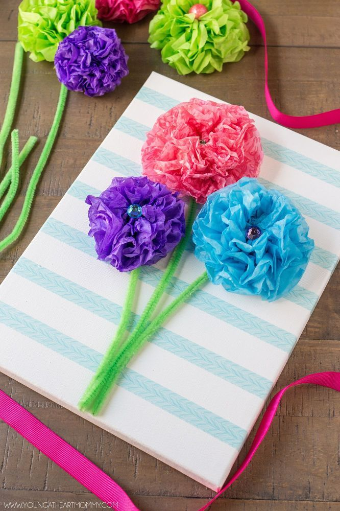 Tissue Paper Flower Bouquet Canvas | Flower bouquets, Tissue paper ...