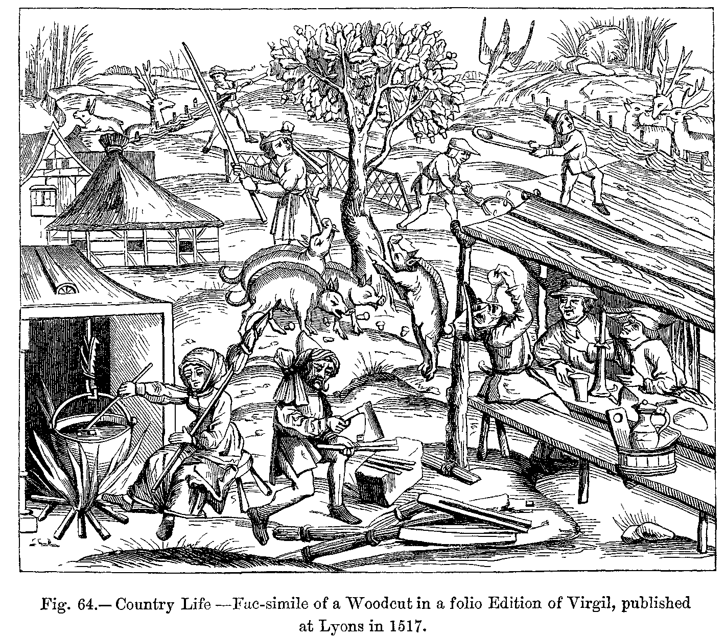 Country Life Fac Simile Of A Woodcut In A Folio Edition Of Virgil Published At Lyons In 1517 Medieval Art City Art Woodcut