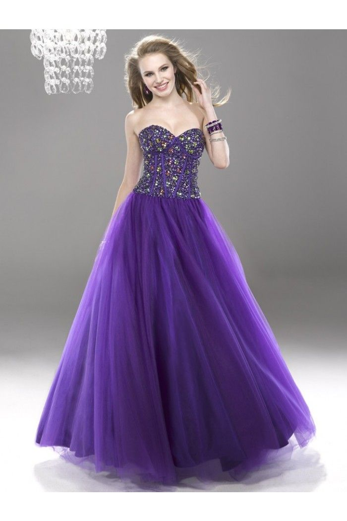 Ball Gown Sweetheart Long Violet Satin Tulle Beaded Corset Prom ...