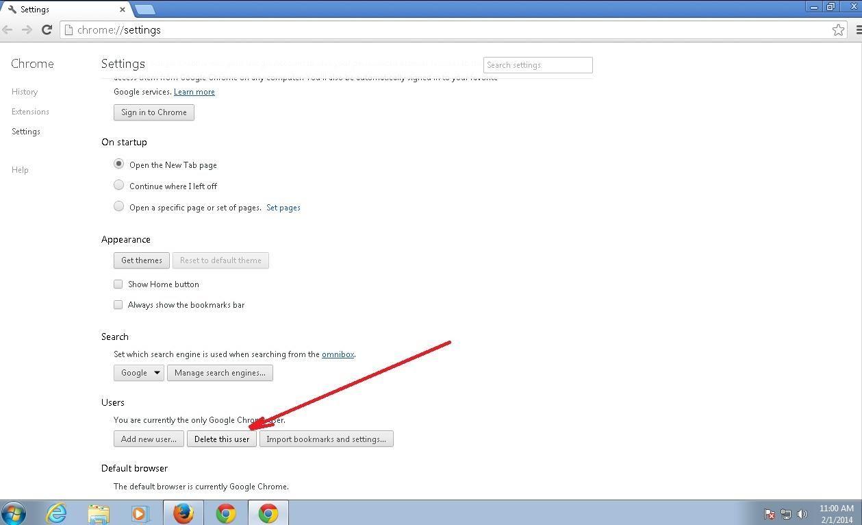 google chrome remove default account