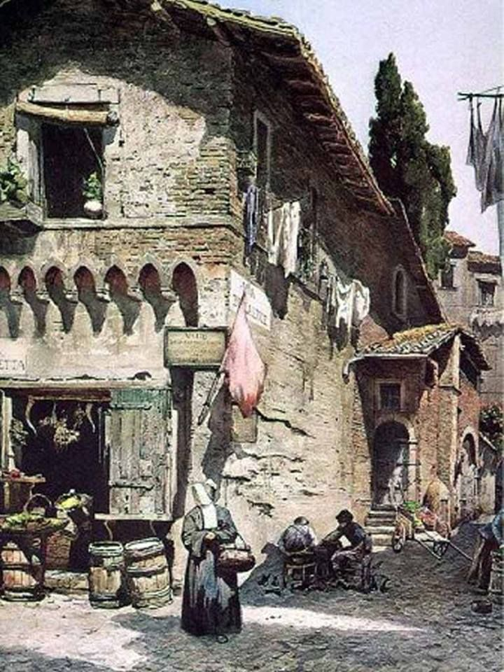 """""""Medieval house on Della Lungaretta Street, Italy"""" (1896) By Ettore Roesler Franz, from Italy (1865 - 1907) watercolour on paper  Private Collection, Italy"""