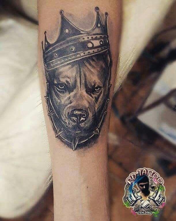 Pit W Crown King J R Pitbull Tattoo Tattoos Dog Tattoos