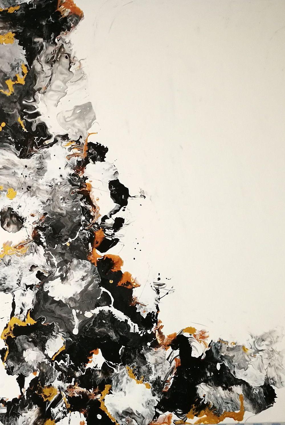 abstraktes in schwarz weiss und kupfer i etsy abstrakt acrylmalerei moderne acrylbilder meer