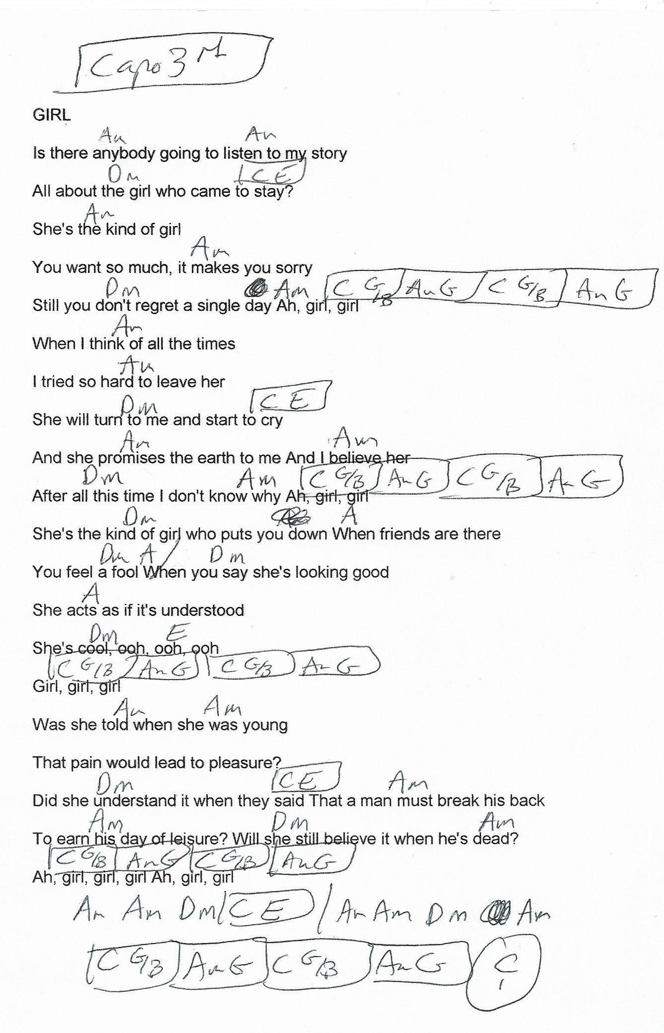 Girl The Beatles Guitar Chord Chart Capo 3rd Guitartabsrock