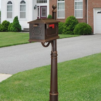 Kingston Post Mounted Mailbox With Post Included Mounted Mailbox Wall Mount Mailbox Post Mount