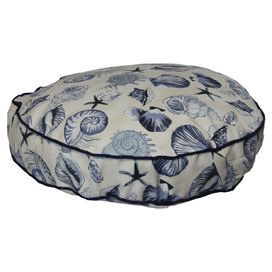 """Ideal for lazy afternoons on the porch and evenings around the fireplace, this chic indoor/outdoor pet bed offers your four-legged companion a cozy resting spot while the seashell motif adds coastal style to your decor.    Product: Pet bedConstruction Material: Polyester, cedar and polyfiber fillColor: Navy  Features: Suitable for indoor or outdoor useMade in the USAMildew and fade resistant  Dimensions: Small: 4"""" H x 25"""" DiameterMedium: 4"""" H x 35"""" DiameterLarge: 4"""" H x 43"""" ..."""