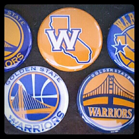 Golden State Warriors Pinbacks You will receive one inch round pinback buttons of Golden State Warriors. Great for putting on t-shirts, lanyards or even backpacks. I have other images please feel free to contact me be glad to share with you. Thank you golden state Warriors  Accessories