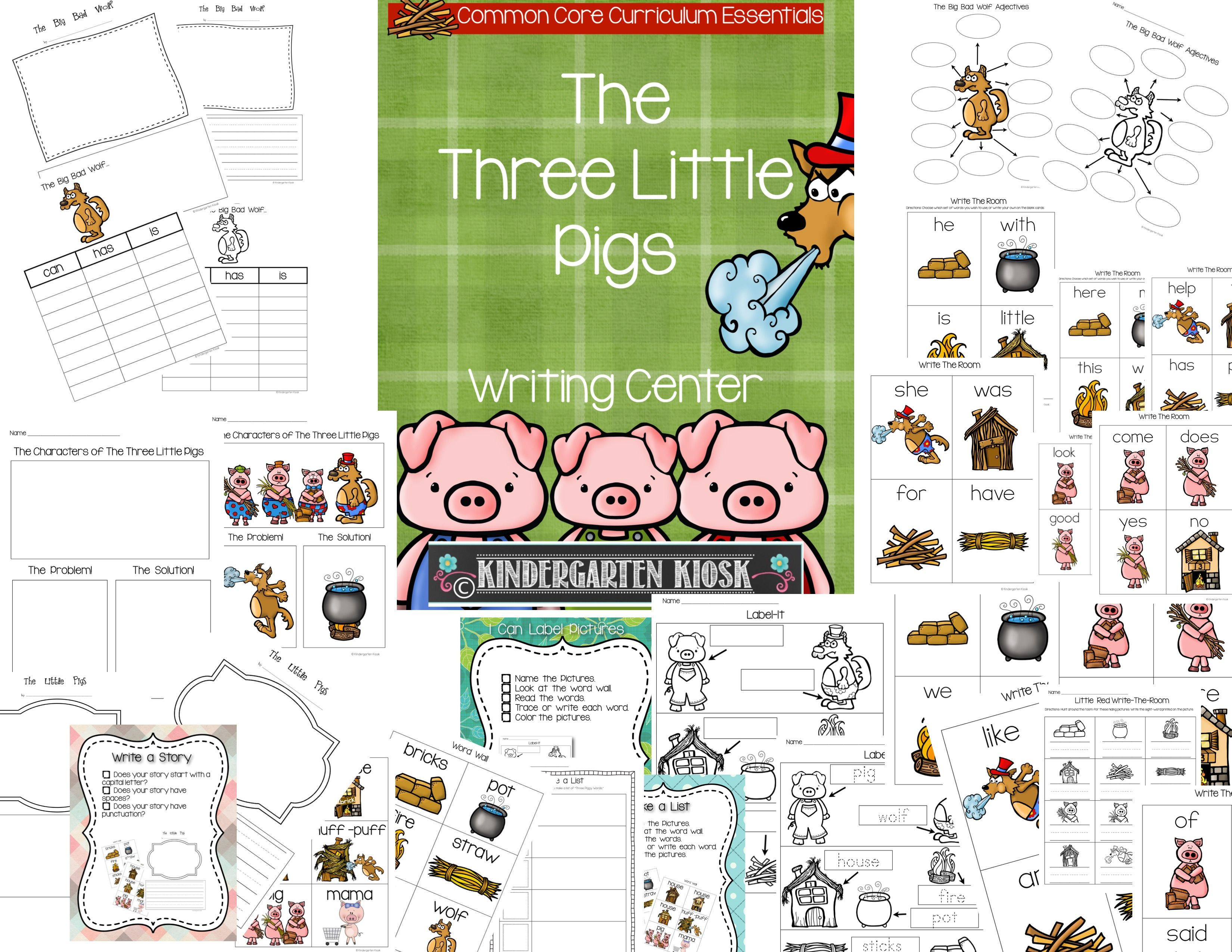 Writing Center Activities And Worksheets Three Little Pigs