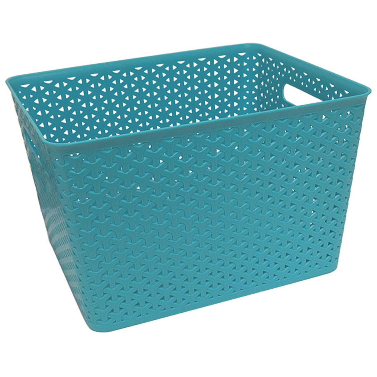 1c98082736 Turquoise Plastic Weave Basket- 14 x 11 x 9-in