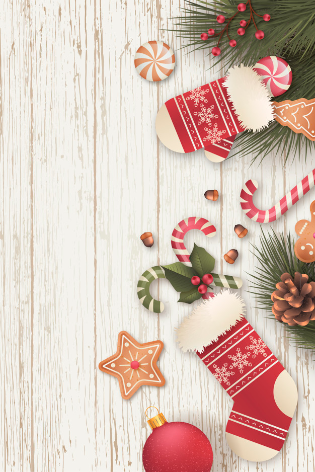Download Realistic Vertical Christmas Background With Candies For Free Free Christmas Backgrounds Christmas Background Christmas Card Background