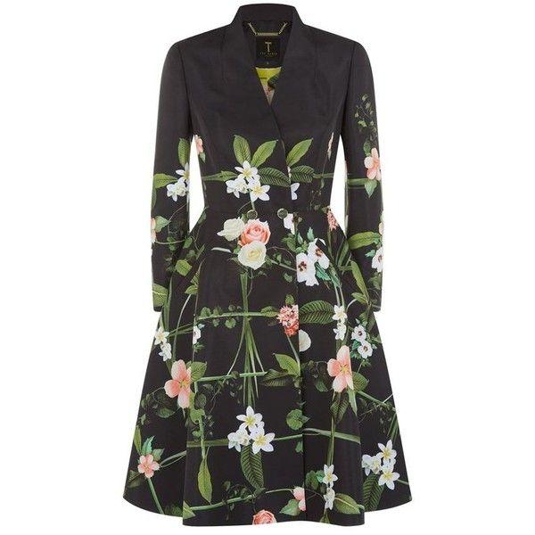 Ted baker black floral coat