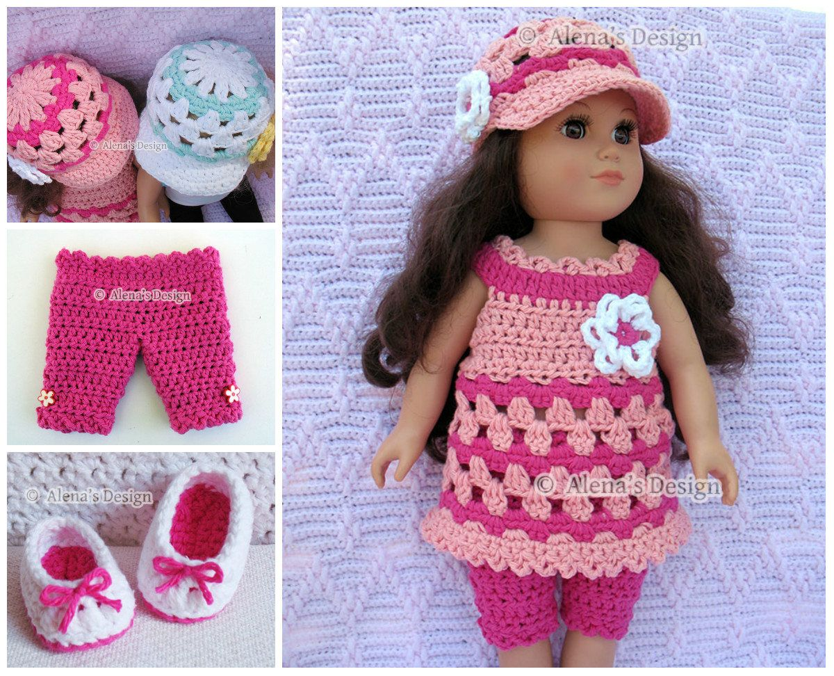 Crochet Pattern 4 PC Set for 18 in Doll Crochet Patterns Lace Dress ...