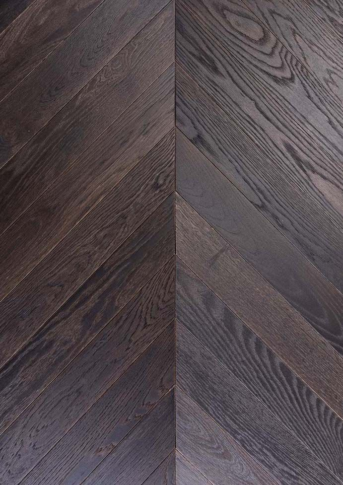 Project Brown Fired Oak Wire Brushed Chevron Engineered Parquet