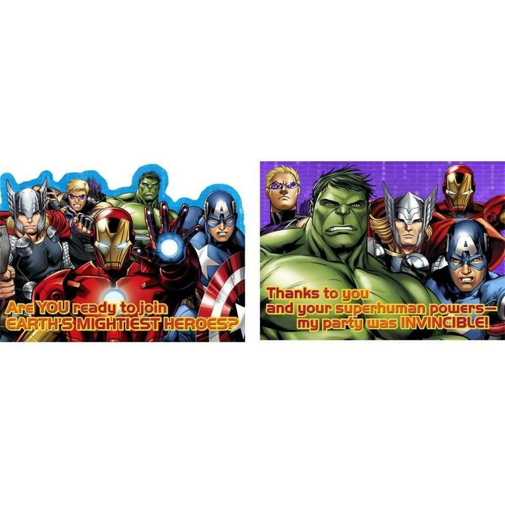 Avengers assemble birthday party invitations thank you