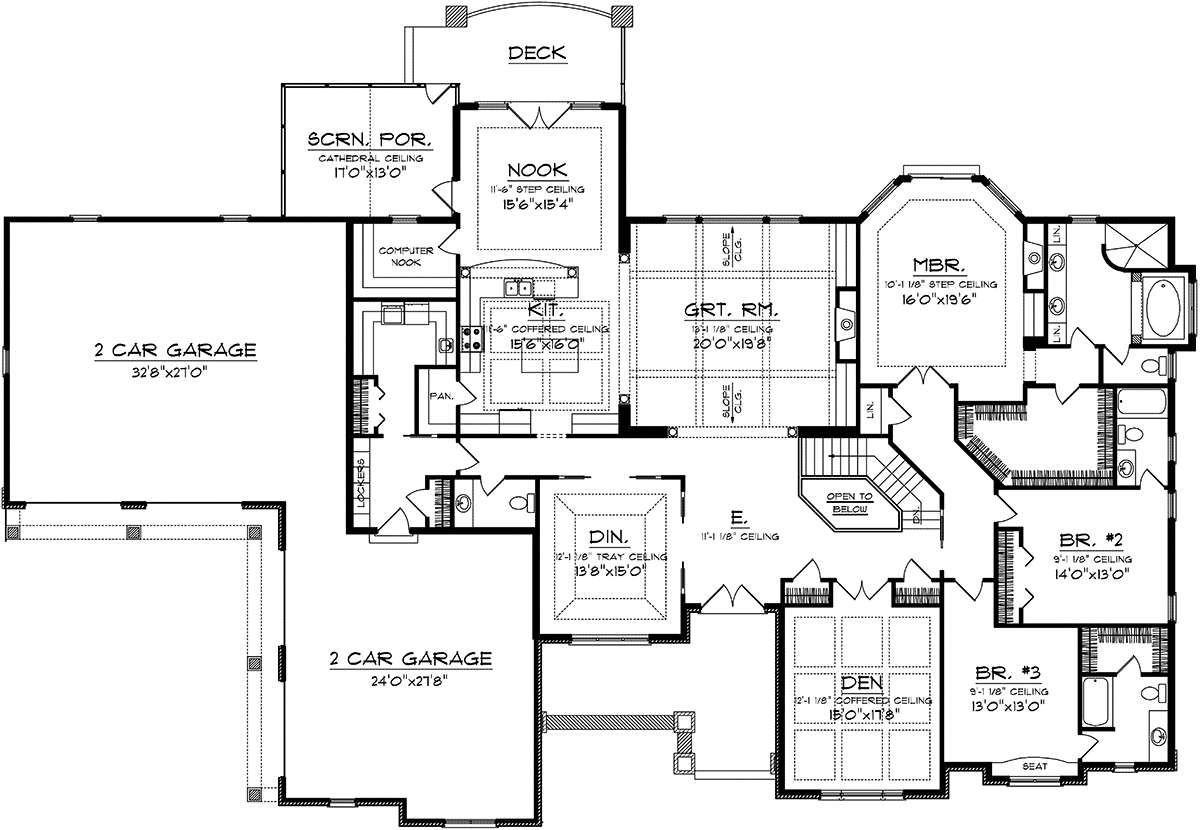 House Plan 1020 00219 Craftsman Plan 3 794 Square Feet 3 Bedrooms 3 5 Bathrooms In 2021 Craftsman House Plans Ranch Style House Plans Ranch House Plans