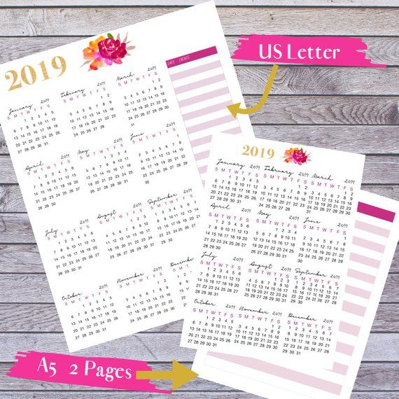 2019 Year Planner Year At A Glance A5 Planner Us Letter Planner