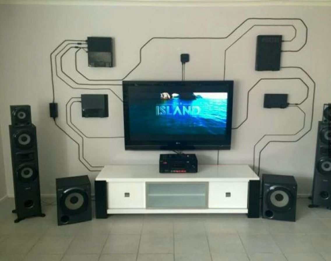Circuit-board inspired home entertainment setup.  Video game