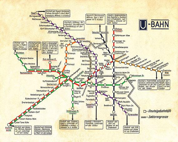 Vintage Berlin Karte U Bahn Antike Deutsche U Bahn Etsy Map Transit Map Berlin