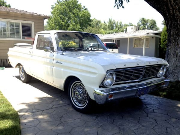 I really like this1964 Ranchero, nice and clean, white, A