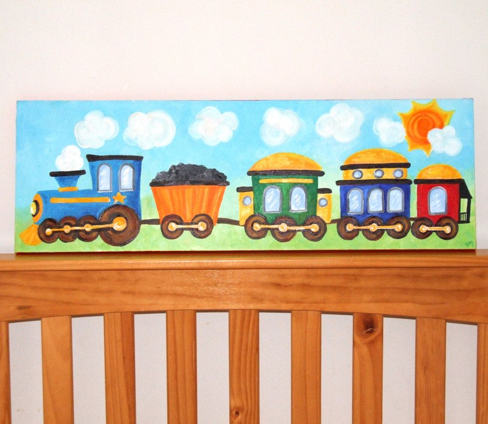 Art For Little Boys Perfect Over A Crib Or Toddler Bed This Train Is Choo Chooing Away Ideal Decor Nursery Any E The Kid Who