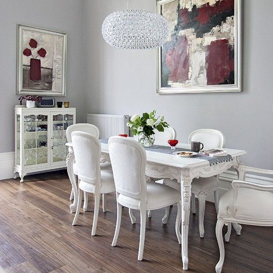 Modern Victorian Dining Room: Grey Dining Room With Modern Art