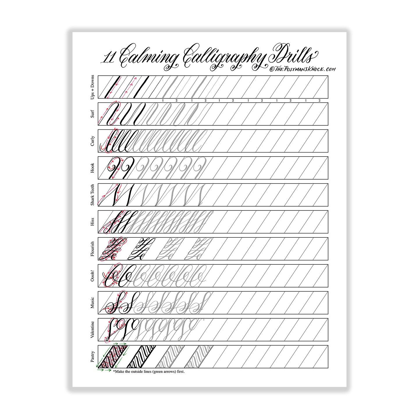 Calming calligraphy drills printable