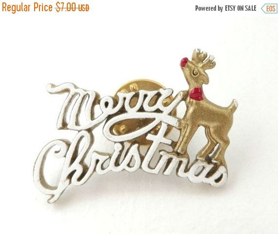 White Merry Christmas Lapel Pin Enamel by LeesVintageJewels