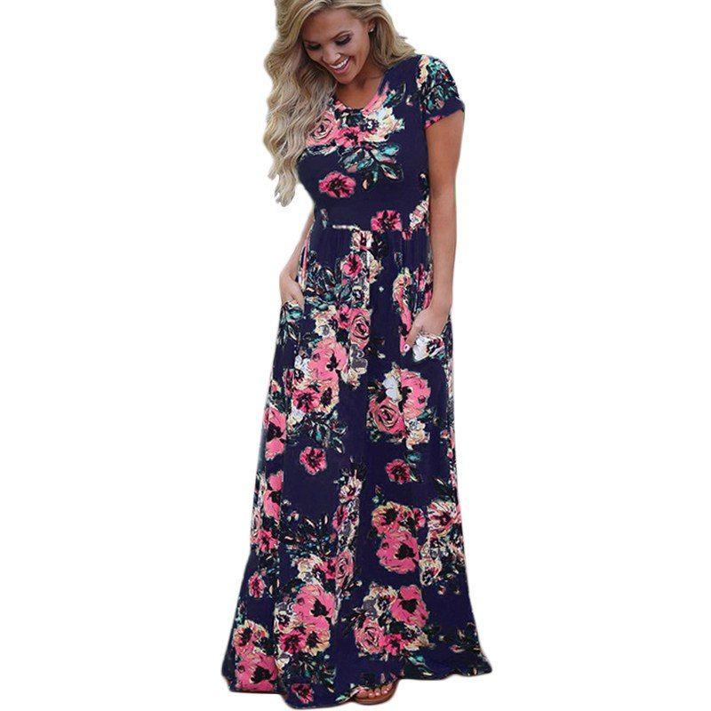 b21c24c1e Mulheres Verão Floral Impressão Vestido Longo Maxi 2019 Boho Praia Vestido  Túnica de Manga Curta vestido