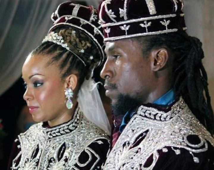Traditional Ethiopian wedding capes and crowns at the wedding of Jah Cure and Kamilia McDonald