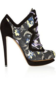 Nicholas Kirkwood Printed cotton-canvas and suede ankle boots
