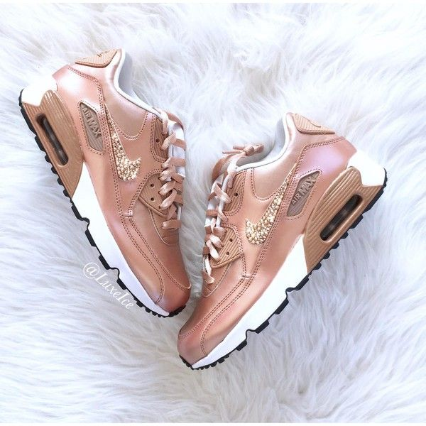 promo code c99c7 ccd31 Nike Air Max 90 Se Leather Shoes Made With Swarovski Crystals... ( 160) ❤  liked on Polyvore featuring shoes, sneakers, silver, sneakers   athletic  shoes, ...