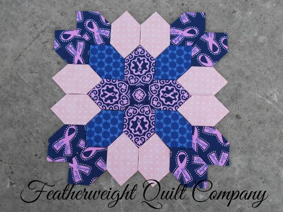 Lucy Boston Patchwork of the Crosses Breast Cancer Awareness Block 002
