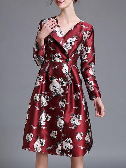 Red Lapel Flowers Print Dress