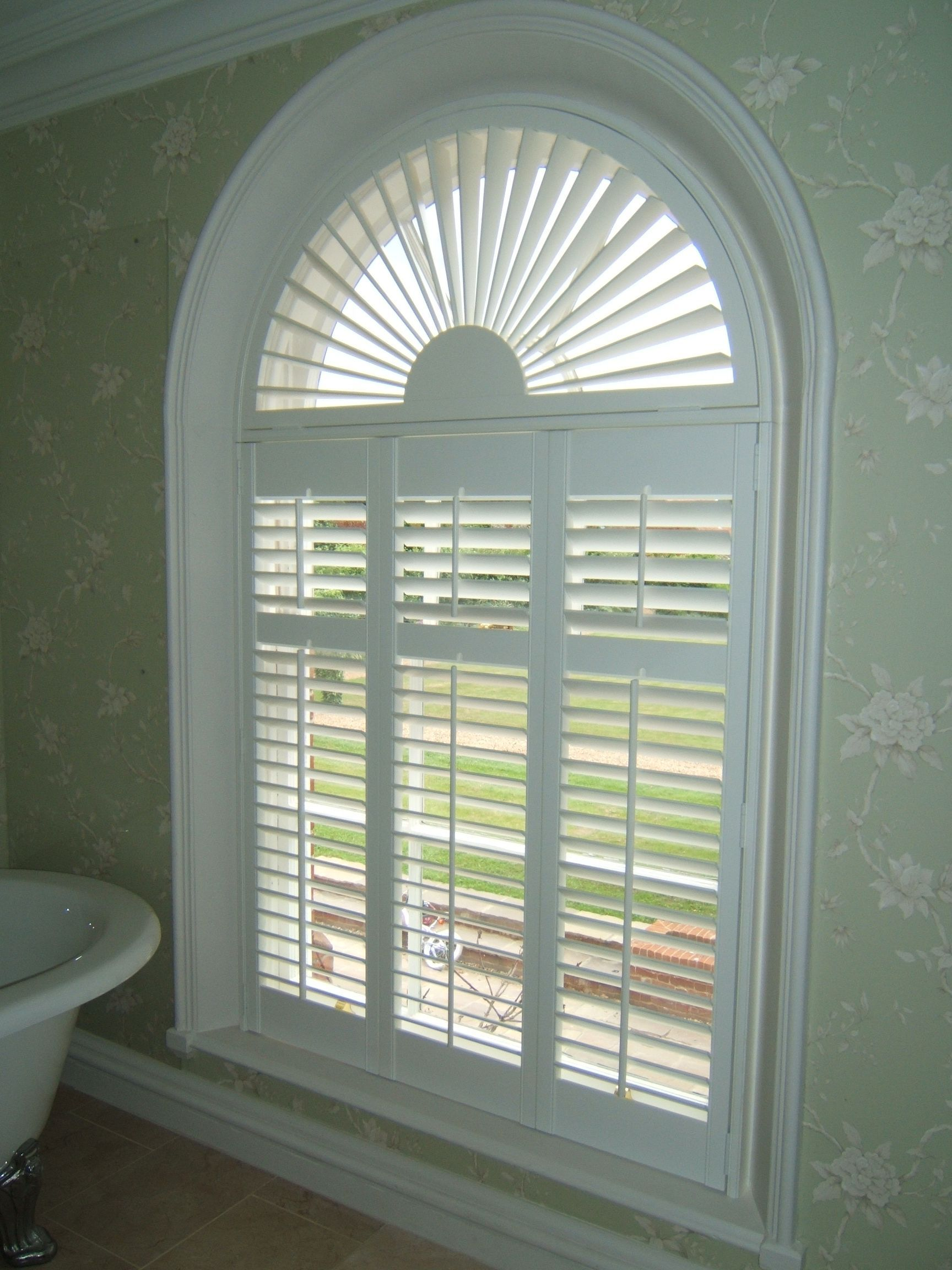 Perfect plantation shutter with arch window my favorite shades and