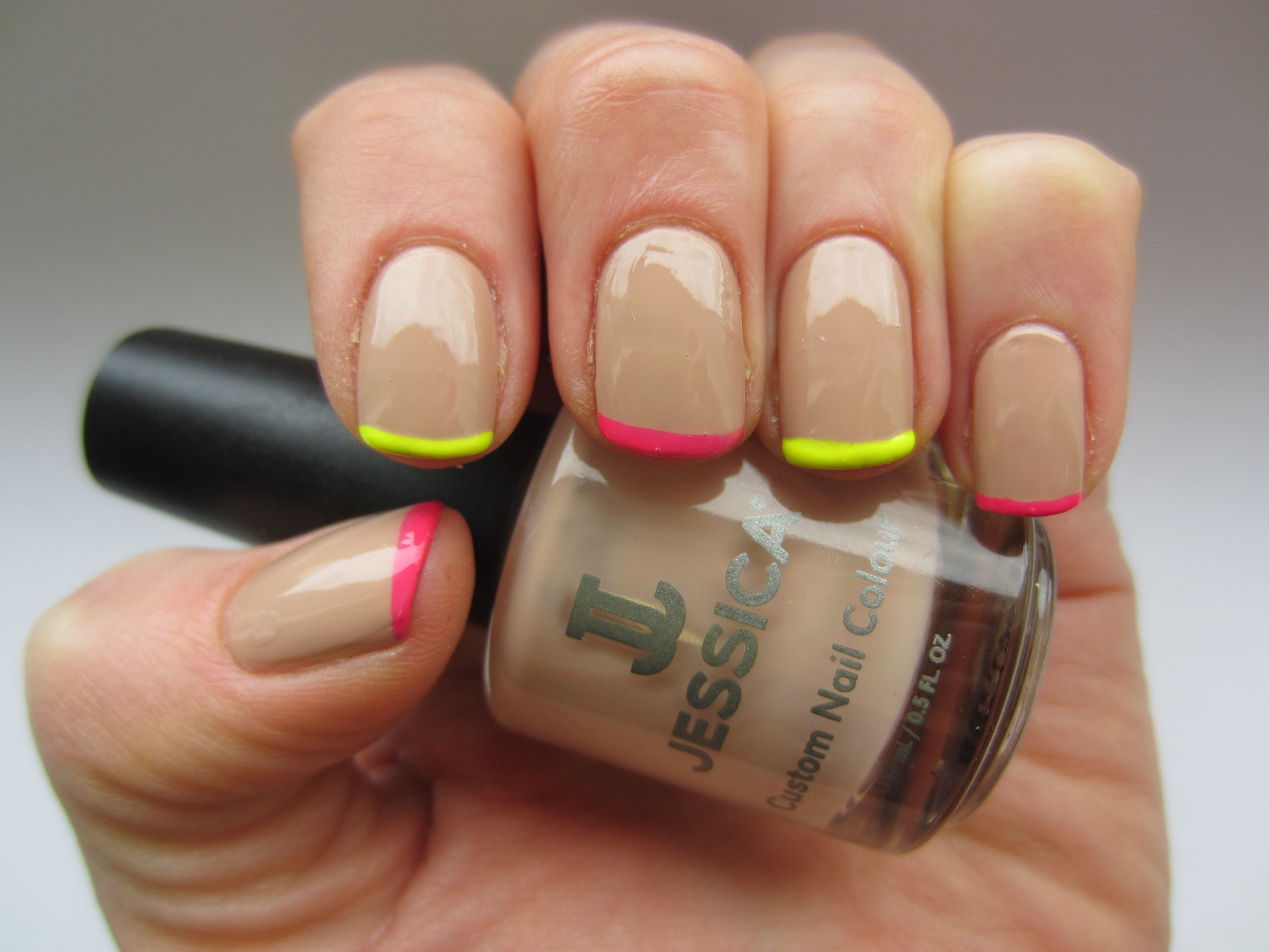 Neon and Nude, created using Jessica Custom Nail Colours. | Nails ...