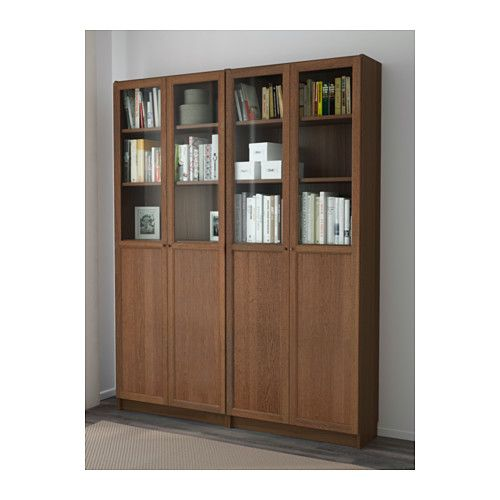 BILLY / OXBERG Bookcase, brown ash veneer | Ash, Ikea billy and Shelves