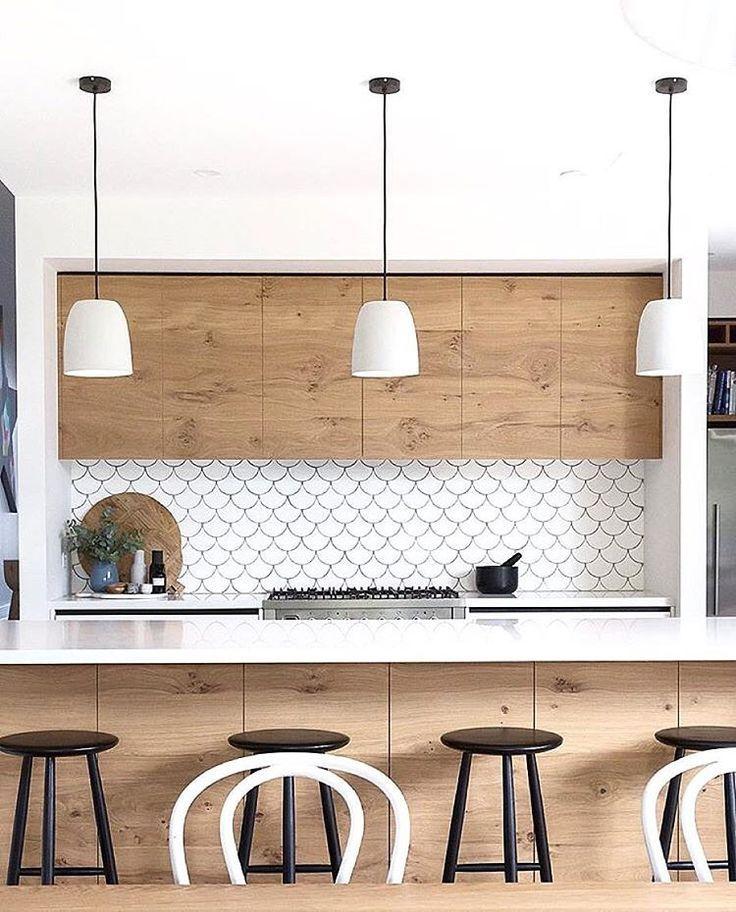 Scallop Tile Backsplash Modern Kitchen