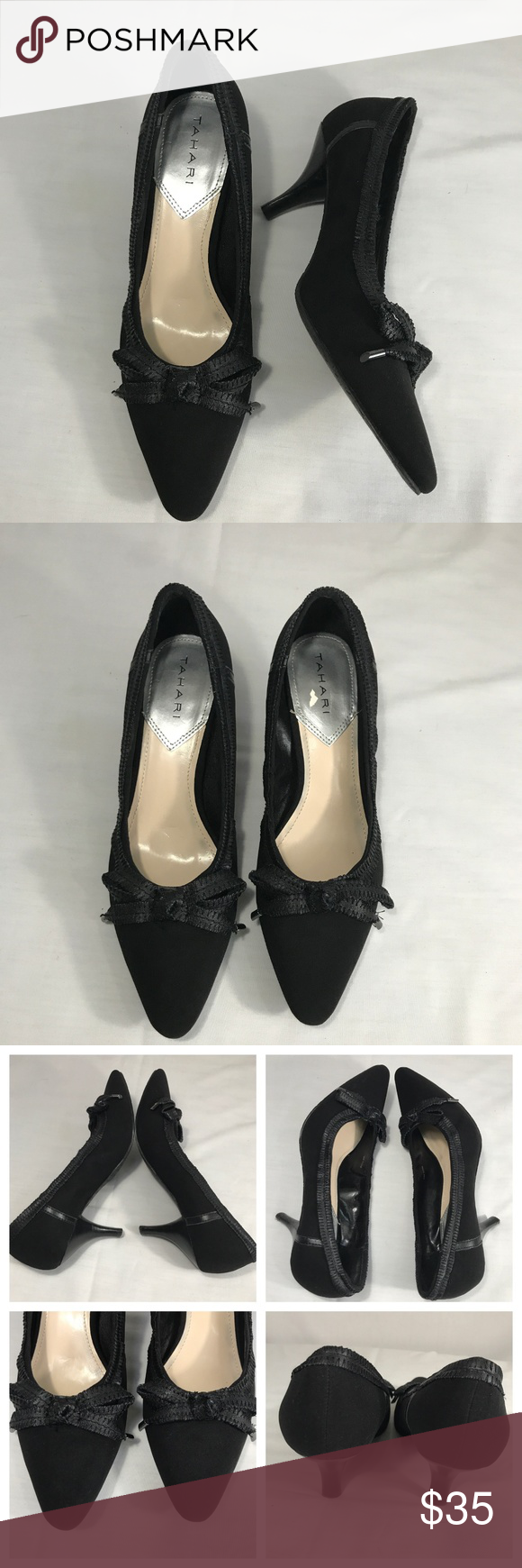 5c7302840b5 Tahari Bess Kitten Heel Pointy Toe Black Pump 9 Style - Tahari Bess - Low  Kitten