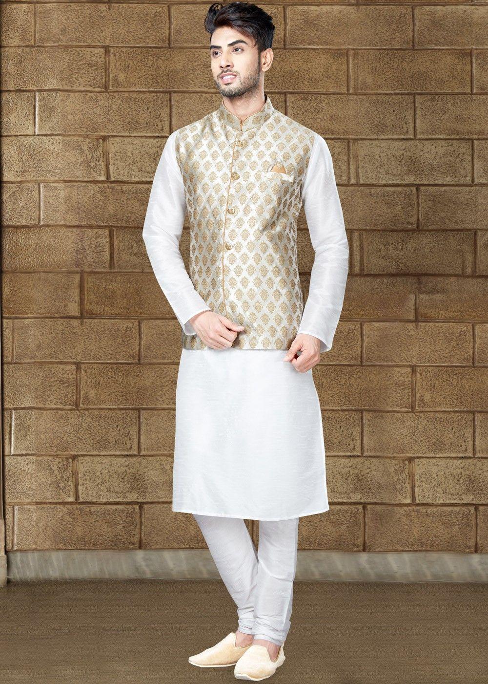 Readymade White Kurta Pajama and Nehru Jacket