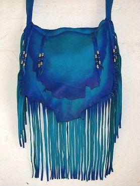 Designer Leather Purse Mermaid Blue Fringe Handbag Hippie Retro Beaded Bag Handmade By