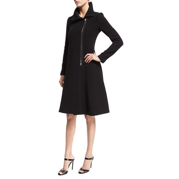 Armani Collezioni Long-Sleeve Asymmetric-Zip Coat Dress (17 970 SEK) ❤ liked on Polyvore featuring dresses, black, longsleeve dress, long sleeve collared dress, long sleeve fit and flare dress, long sleeve dress and straight dress