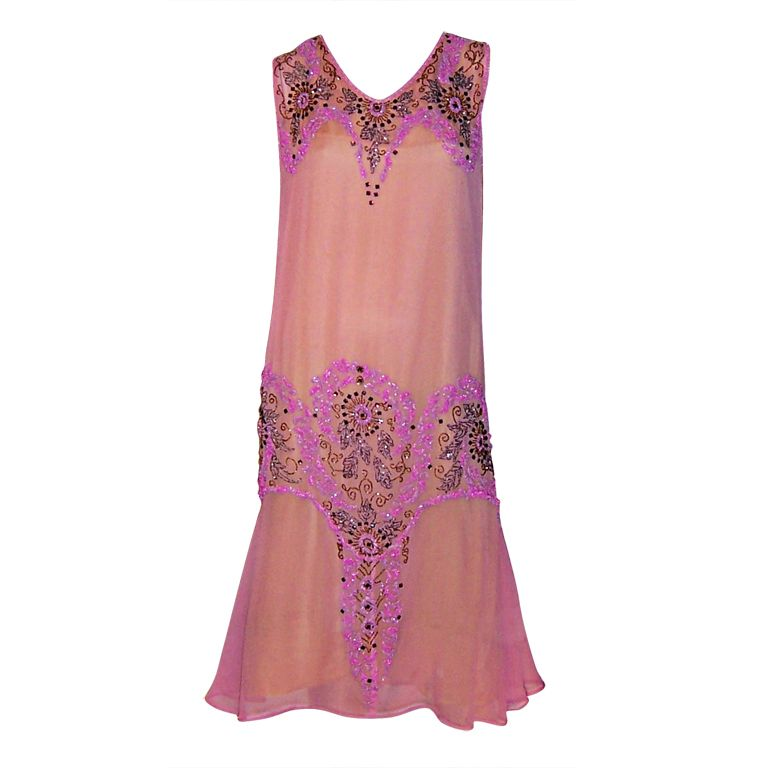 1920's Exquisite Raspberry Sorbet Beaded Gown & Matching Stole