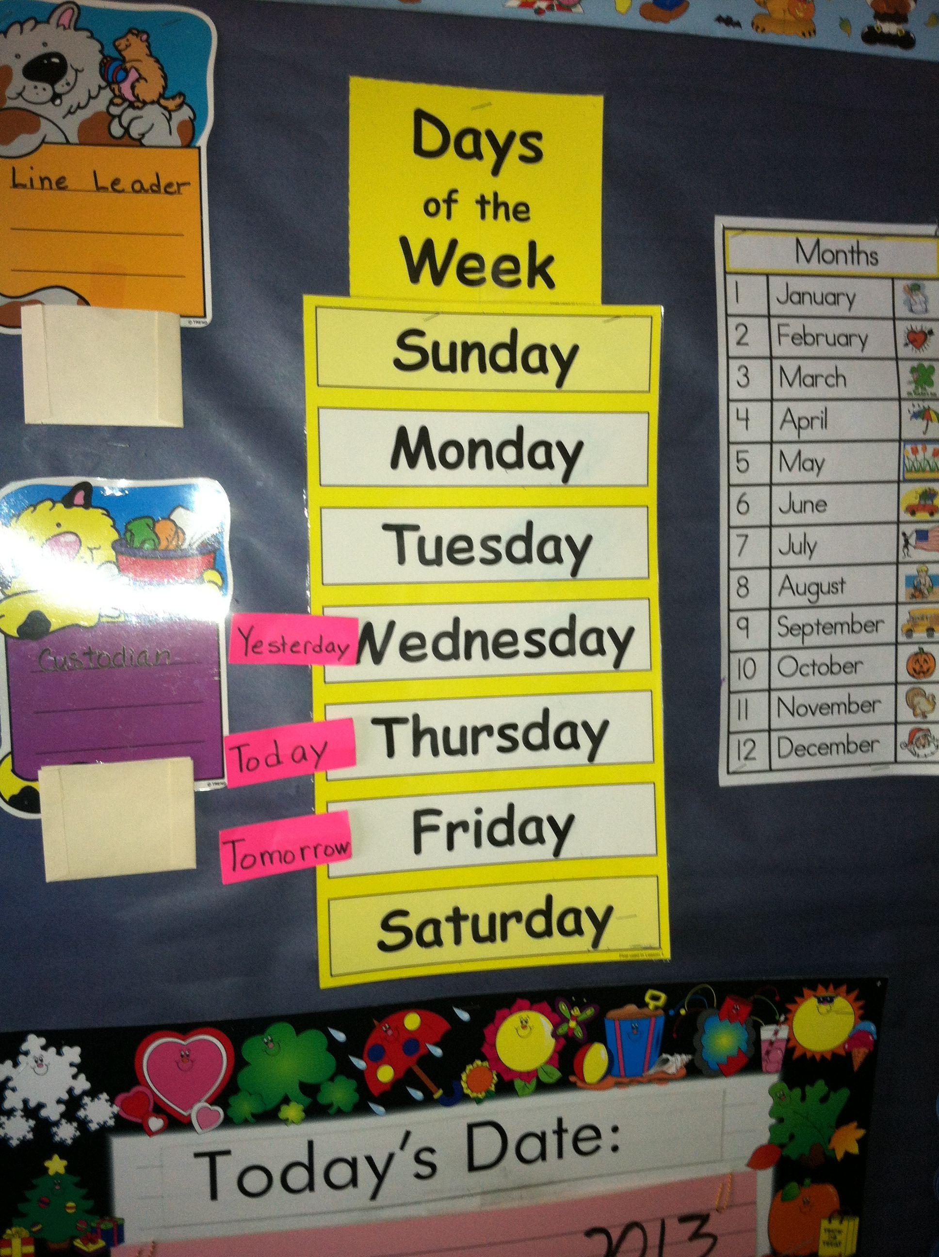 Days Of Week Math Corner Classroom Decor Classroom