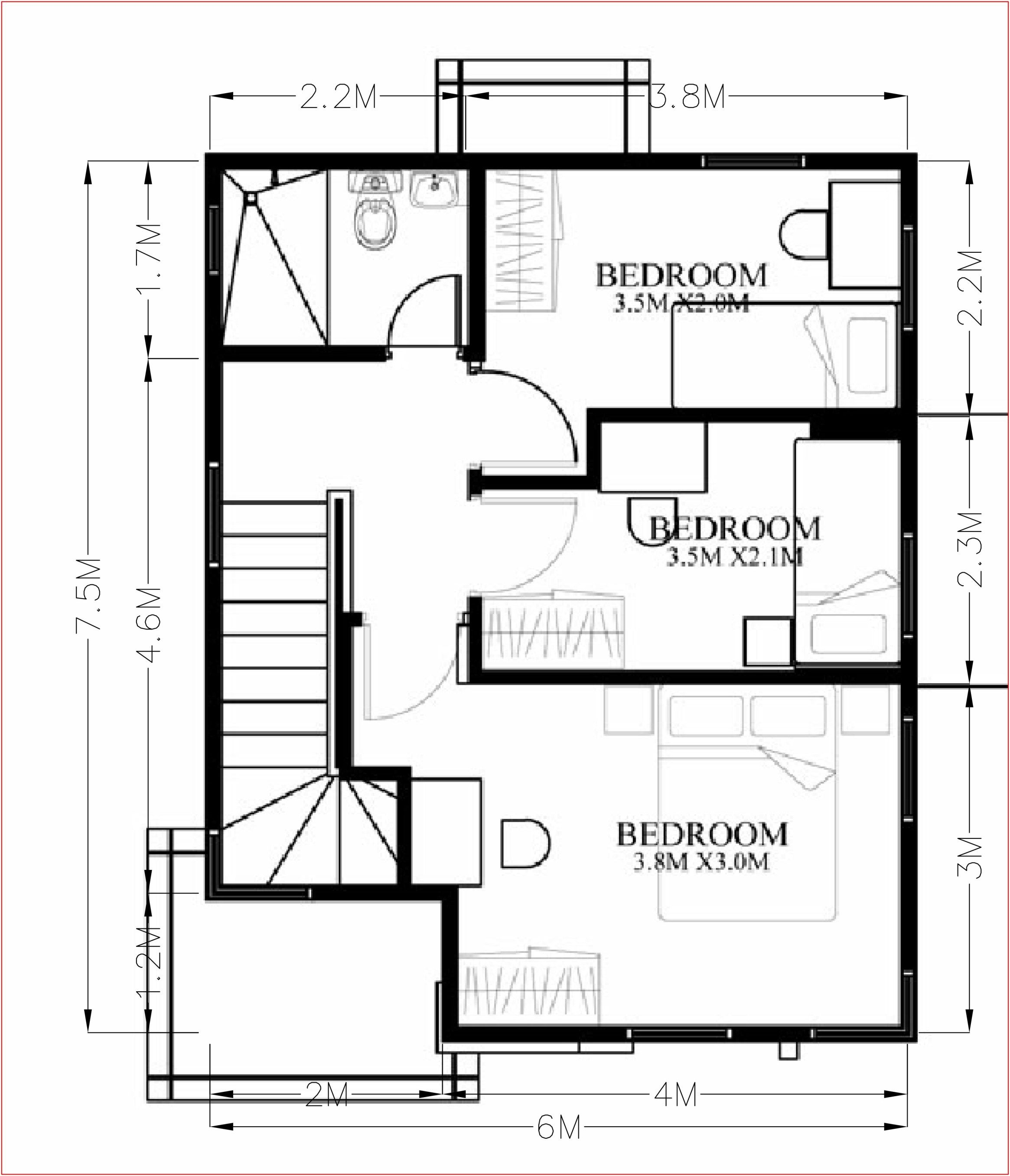 Small Home Design Plan 6x7 5m With 4 Bedrooms Home Design With Plan Small House Design Home Design Plan House Design
