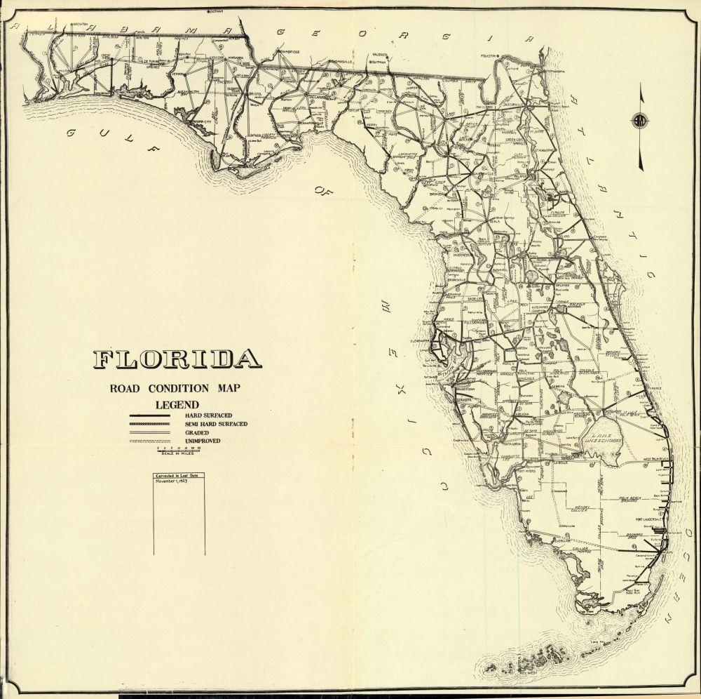 Plant City Florida Map.Florida Memory Florida Road Condition Map 1923 History Of Plant